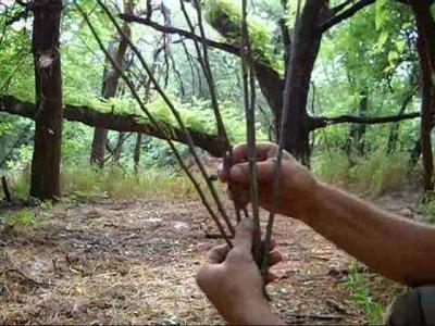 Making a basket for wilderness survival