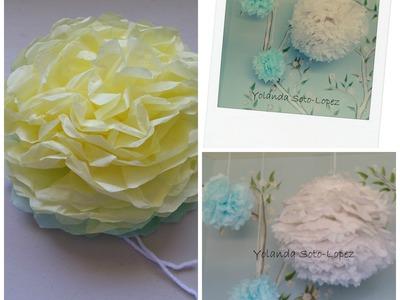 #Pom pom flowers (tissue paper flowers)