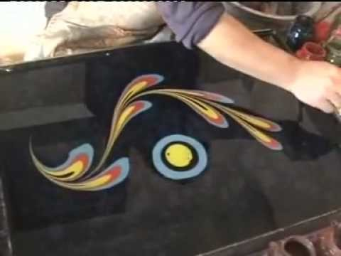 Amazing Turkish art technique called Ebru. Floating dyes or paint on water.