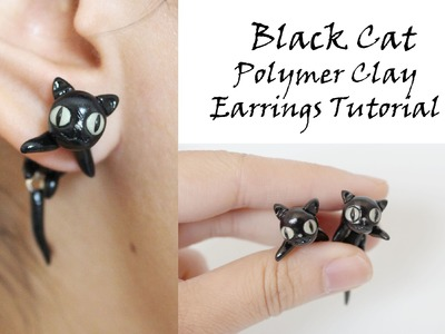 Black Cat Earrings Polymer Clay Tutorial