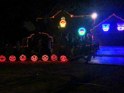 Halloween Decorations 2014, Adams Family Light Show. Thomas Halloween Naperville