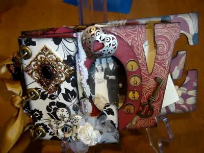 Love Letters.Chipboard Mini Album-.A tribute to my parents love