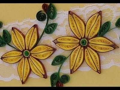 Quilling Made Easy # How to make Yellow Brown Flower Design using Paper Art Quilling -Paper Quilling