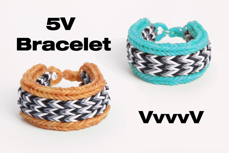 VvvvV - 5V Bracelet - 10 Pin Flat Fishtail - Advanced Rainbow Loom Tutorial