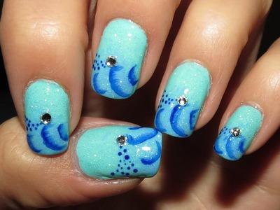 Water Waves Inspired nail art design video tutorial