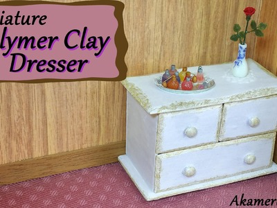 Miniature Polymer Clay Dresser. Chest of drawers - Polymer Clay Tutorial