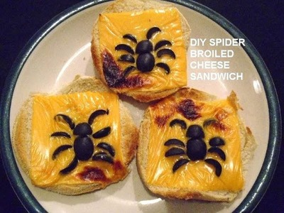 SPIDER BROILED CHEESE SANDWICHES FOR HALLOWEEN