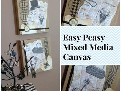 An Easy Peasy Mixed Media Burlap Canvas