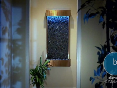 Bluworld WWLVP-CP Large Vertical Pebble Indoor Wall Fountain With Copper Finish