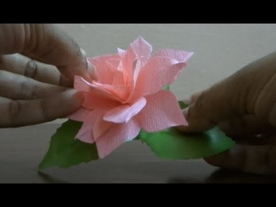 How to make a rose with crepe paper easily.