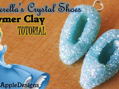 Polymer Clay Cinderella Crystal Slippers.Shoes Charms - STOP MOTION TUTORIAL