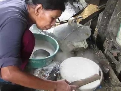 Preparing Khmer edible rice paper - if you think your job is hard check this