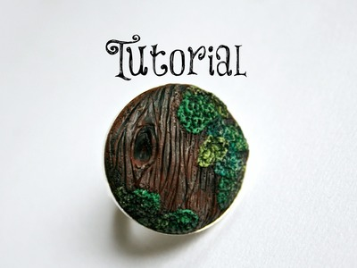 Wood Grain & Moss Polymer Clay Tree.Bark.Nature Ring Tutorial | Velvetorium