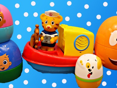 Bubble Guppies Surprise Eggs & Daniel Tiger's Neighborhood Bath Toy Boat DisneyCarToys