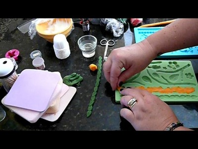 How to make fondant. gumpaste  pearls, leaf vines, flowers using molds