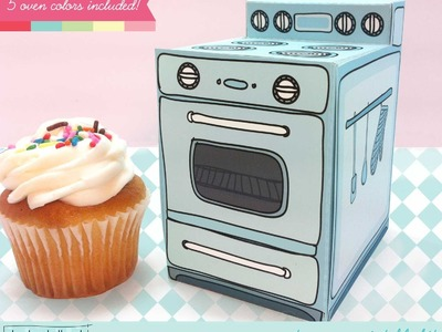 Make a retro oven printable cupcake box, treat and party favor gift box