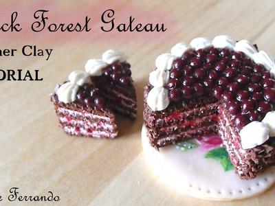 Miniature Polymer Clay Black Forest Gateau.Cake TUTORIAL