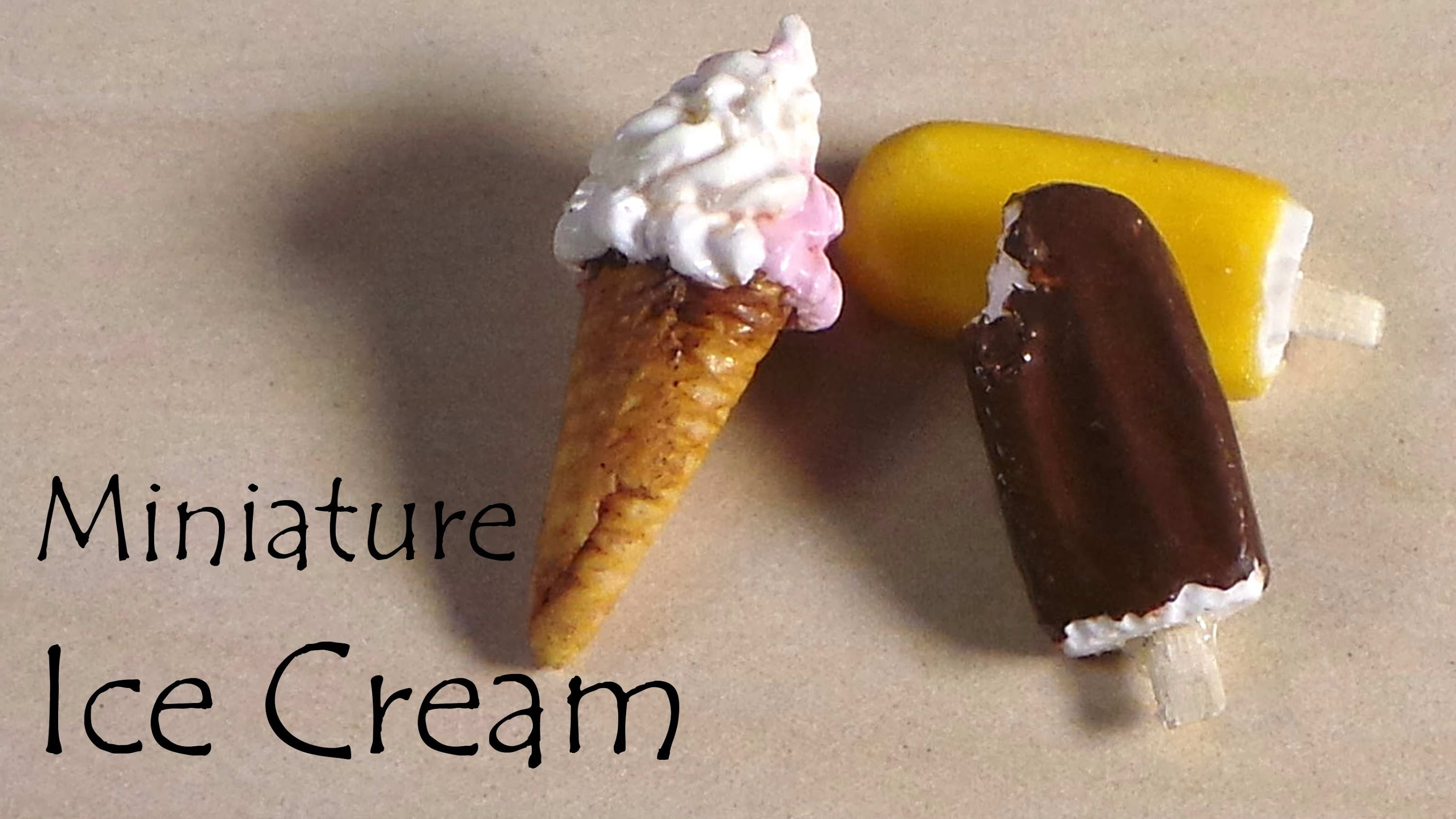 Miniature Popsicle.Creamsicle & Ice Cream Cone - Polymer Clay Tutorial