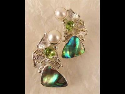Art jewelry, designer jewelry, earrings, abalone, peridot, gold