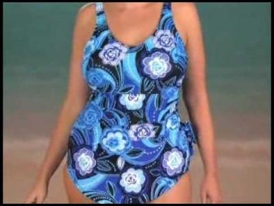 Beach Belle Bubble Blooms Plus Size Sarong Front One Piece Swimsuit