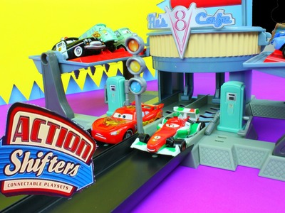 Disney World of Cars Action Shifters Playsets Flo's V8 Cafe Lightning McQueen & Francesco Race!