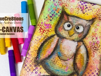 【MIXED MEDIA CANVAS OWL】with Faber Castell Gelatos