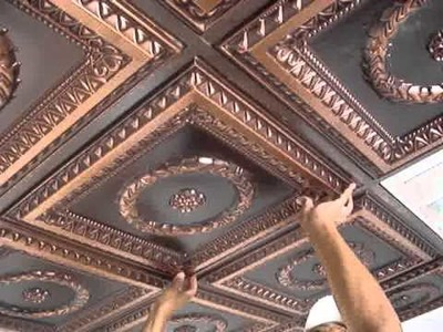 Faux Tin Drop In Ceiling Tiles Installation