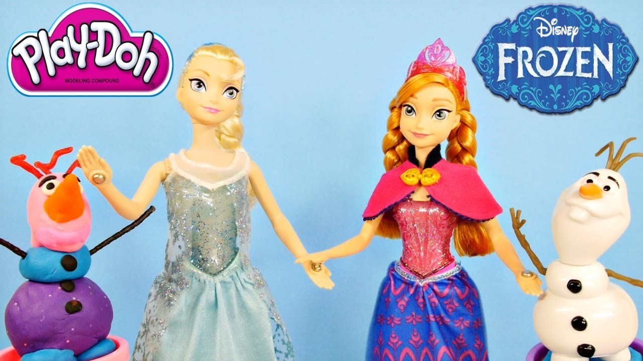 "Frozen ""Let It Go"" Musical Magic Lightup Barbie Dolls Anna and Elsa Talking Olaf Play Doh"