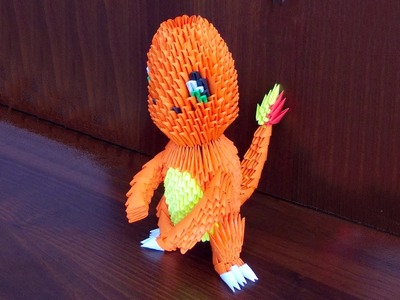 3D origami pokemon Charmander tutorial instruction