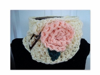 CROCHET COWL AND FLOWER, crochet pattern