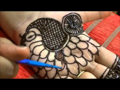How To Make Shaded Peacock Henna. Mehndi Design, Easy DIY, For Beginners, Slow Tutorial
