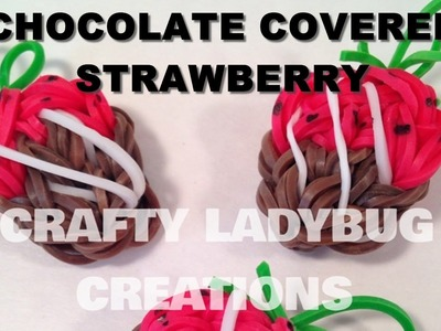 Rainbow Loom Bands CHOCOLATE STRAWBERRY CHARM How to Make Tutorial Crafty Ladybug