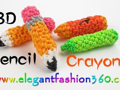 Rainbow Loom  Pencil.Crayons  3D Charm - How to Loom Bands