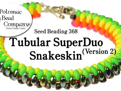 Tubular SuperDuo Snakeskin Bracelet (Version 2) - Seed Bead 368