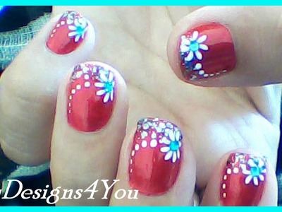 Floral Nail Art for Short Nails |  Red Nails Design  ♥