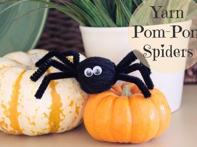 Make Yarn Pom Pom Spiders for Halloween