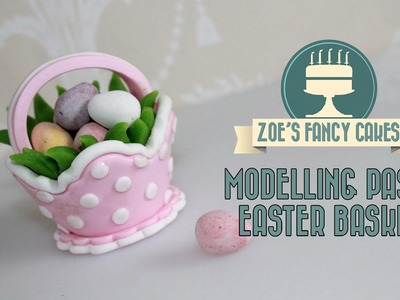 Modelling paste Easter basket cake topper for mini eggs fondant cake decorating tutorials