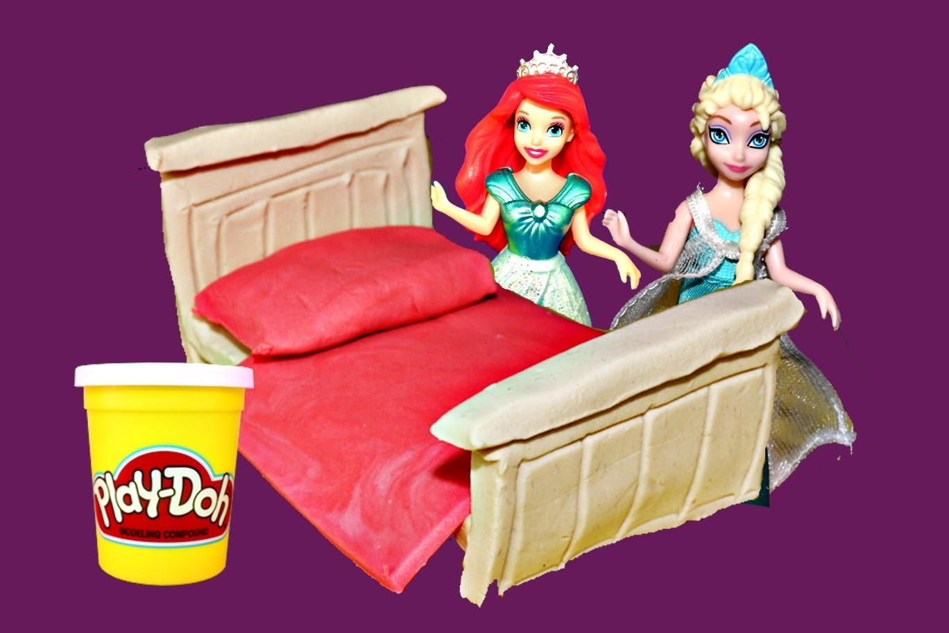 Play Doh Doll Bed Tutorial Elsa, Little Mermaid Ariel and Disney Frozen Princess Anna DisneyCarToys