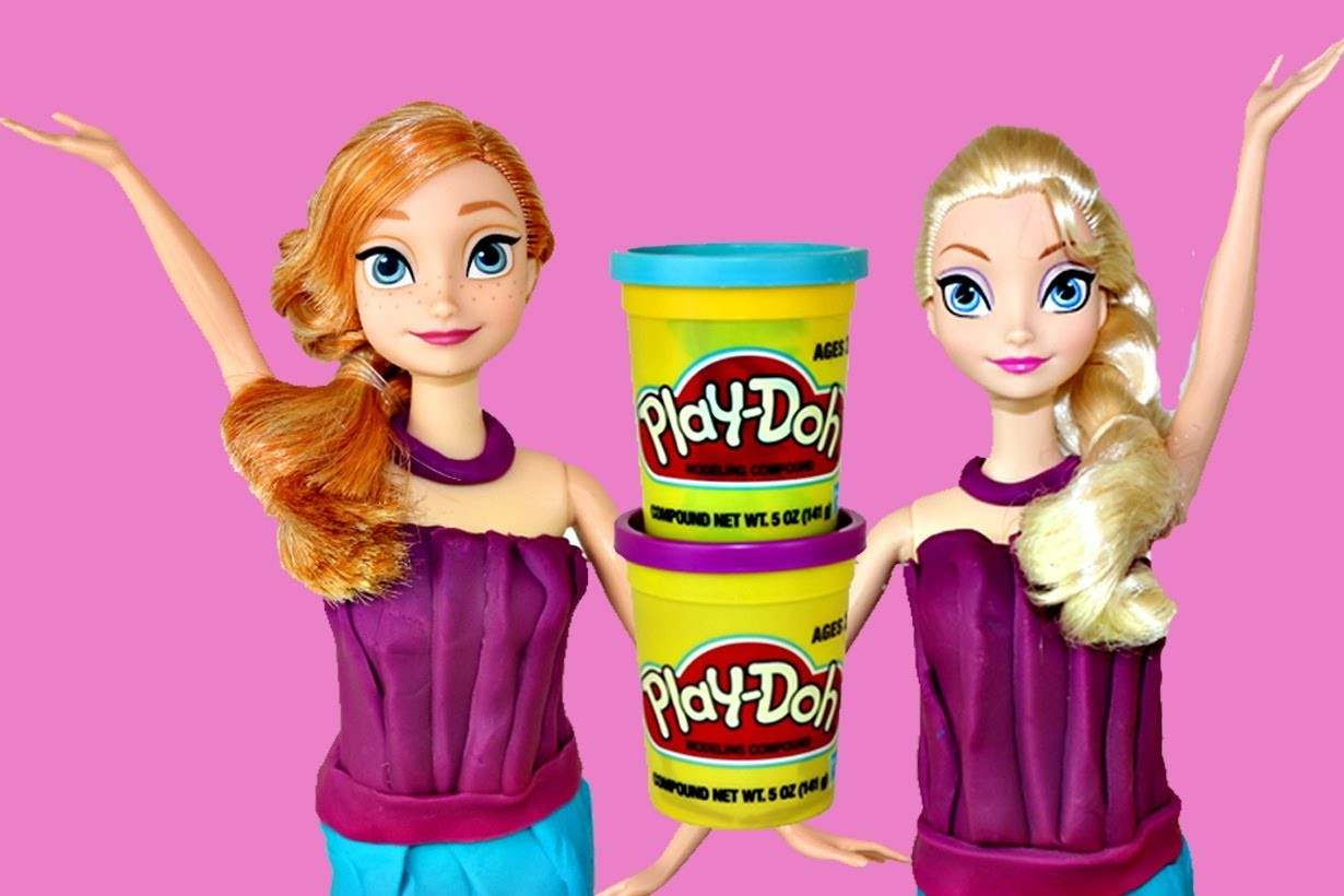Play Doh Frozen Elsa and Anna Barbie Doll Color Change Twin Makeover Play-Doh Dress DisneyCarToys