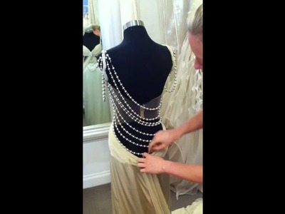 Dimitria Couture 'Mimi' gown in Latte. Gown draping instruction