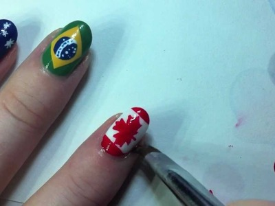 Canadian Flag Nail Art Tutorial