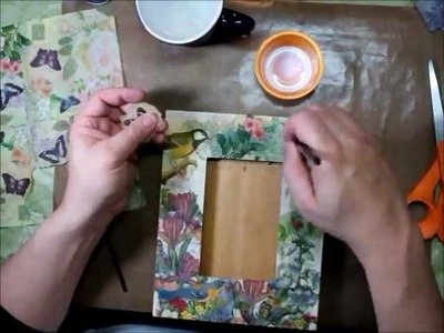 Collaging a Frame with Paper Napkins and Perfect Paper Adhesive (PPA) from USArtQuest