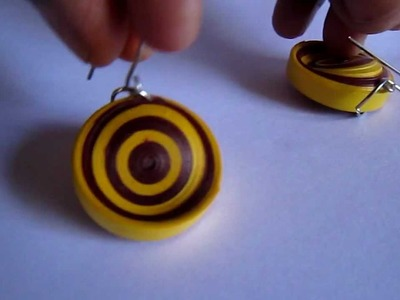 Handmade Paper Quilling Earrings - Tilted Round