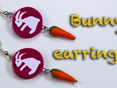 How to make a bunny cane . Polymer clay earrings. Fimo Tutorial.