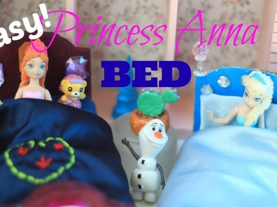 How to make a Princess Anna doll bed for small Magic Clip Doll Disney Frozen Doll Tutorial