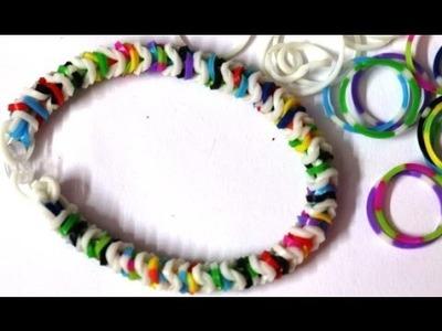 How To Make Tight Robe Rainbow Loom Bracelet(News Paper Look)Tutorial