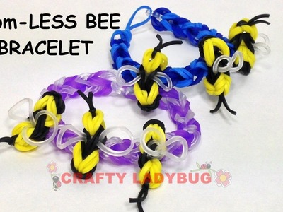 NEW Rainbow Loom-LESS BEE as a Bracelet  EASY Charm Tutorials by Crafty Ladybug.How to DIY