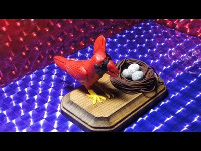 Polymer clay Cardinal bird and Nest
