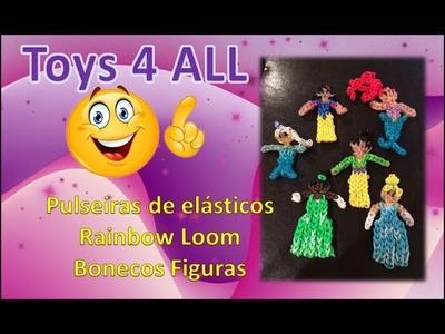 Pulseiras elasticos rainbow loom charm bonecos figuras