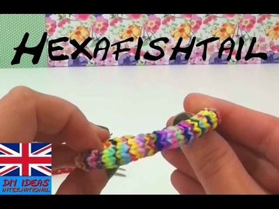 Rainbow Loom Hexafish Bracelet DIY with FORK without Rainbow Loom Board Tutorial| english